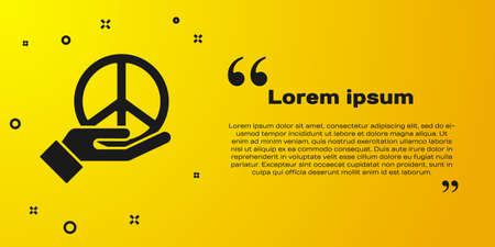 Black Peace icon isolated on yellow background. Hippie symbol of peace. Vector Иллюстрация