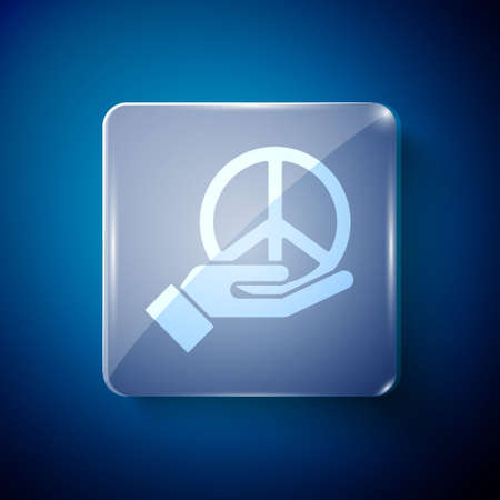 White Peace icon isolated on blue background. Hippie symbol of peace. Square glass panels. Vector Иллюстрация