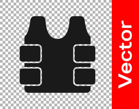 Black Bulletproof vest for protection from bullets icon isolated on transparent background. Body armor sign. Military clothing. Vector