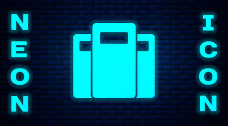 Glowing neon Police assault shield icon isolated on brick wall background. Vector Иллюстрация