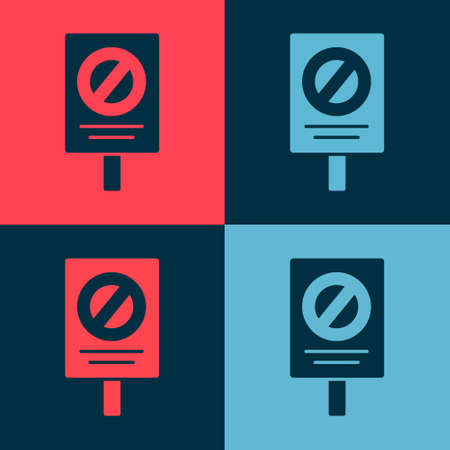 Pop art Protest icon isolated on color background. Meeting, protester, picket, speech, banner, protest placard, petition, leader, leaflet. Vector Иллюстрация