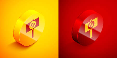Isometric Protest icon isolated on orange and red background. Meeting, protester, picket, speech, banner, protest placard, petition, leader, leaflet. Circle button. Vector