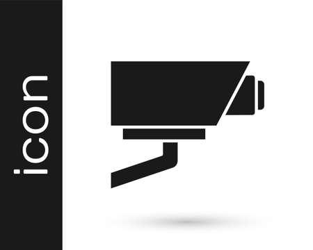 Black Security camera icon isolated on white background. Vector Ilustração