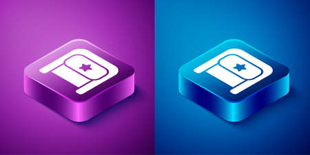 Isometric Ushanka icon isolated on blue and purple background. Russian fur winter hat ushanka with star. Soviet Union uniform of KGB and NKVD. Square button. Vector
