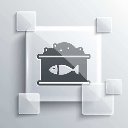 Grey Tin can with caviar icon isolated on grey background. Square glass panels. Vector