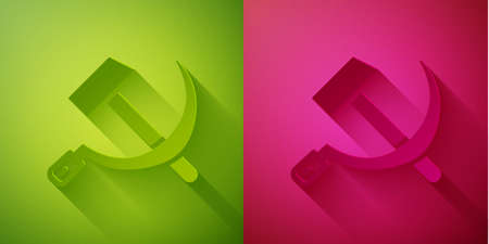 Paper cut Hammer and sickle USSR icon isolated on green and pink background. Symbol Soviet Union. Paper art style. Vector