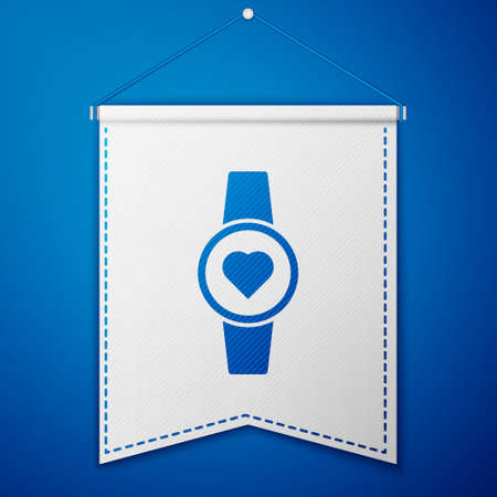 Blue Smartwatch icon isolated on blue background. White pennant template. Vector