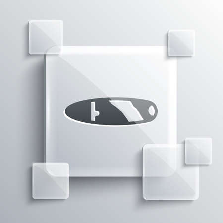 Grey Cigar icon isolated on grey background. Square glass panels. Vector