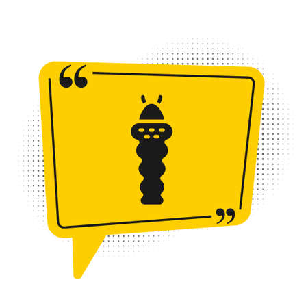 Black Larva insect icon isolated on white background. Yellow speech bubble symbol. Vector Illustration