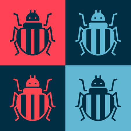 Pop art Colorado beetle icon isolated on color background. Vector