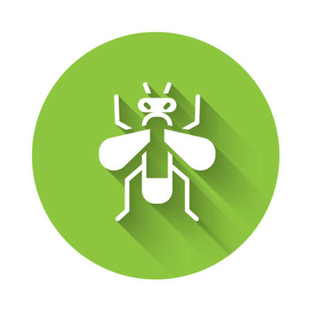 White Insect fly icon isolated with long shadow. Green circle button. Vector