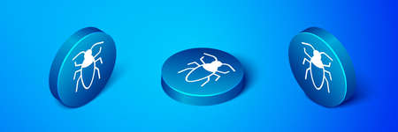Isometric Cockroach icon isolated on blue background. Blue circle button. Vector Illustration