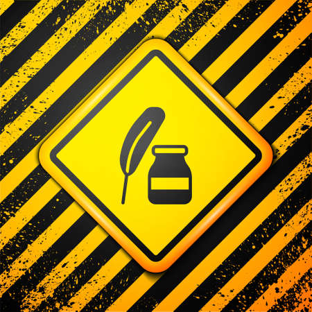 Black Feather and inkwell icon isolated on yellow background. Warning sign. Vector 向量圖像