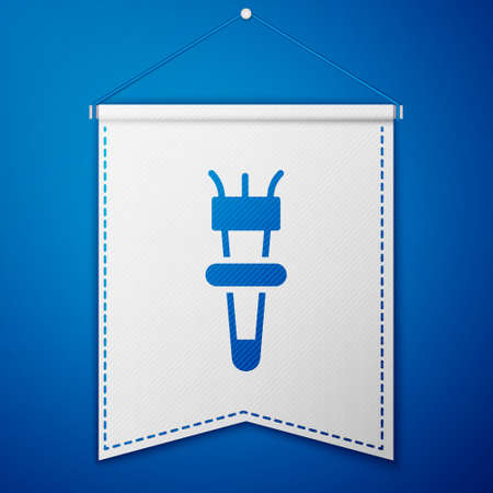 Blue Torch flame icon isolated on blue background. Symbol fire hot, flame power, flaming and heat. White pennant template. Vector Illusztráció