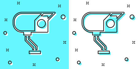 Black line Security camera icon isolated on green and white background. Random dynamic shapes. Vector Ilustração