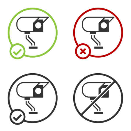 Black Security camera icon isolated on white background. Circle button. Vector Ilustração