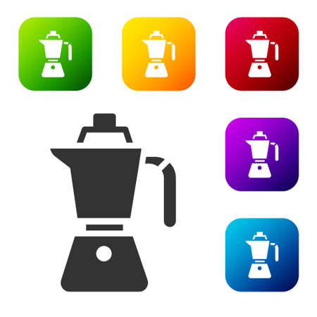 Black Coffee maker moca pot icon isolated on white background. Set icons in color square buttons. Vector Иллюстрация