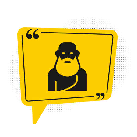 Black Socrates icon isolated on white background. Sokrat ancient greek Athenes ancient philosophy. Yellow speech bubble symbol. Vector