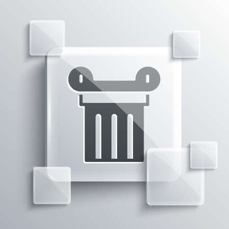 Grey Ancient column icon isolated on grey background. Square glass panels. Vector