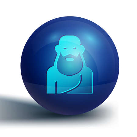 Blue Socrates icon isolated on white background. Sokrat ancient greek Athenes ancient philosophy. Blue circle button. Vector Ilustração