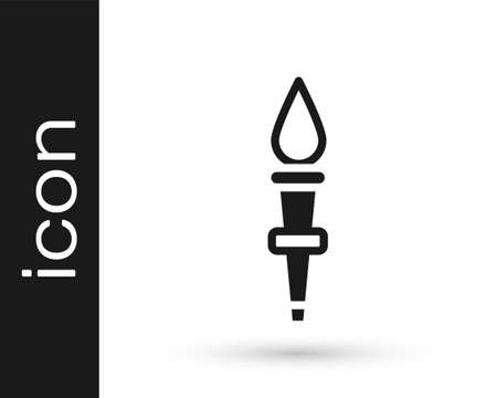 Black Torch flame icon isolated on white background. Symbol fire hot, flame power, flaming and heat. Vector