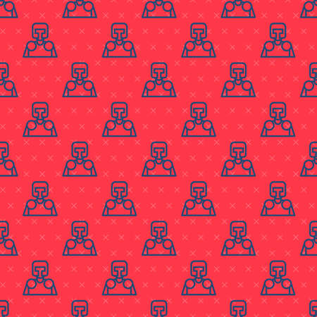Blue line Medieval knight icon isolated seamless pattern on red background. Vector Illusztráció