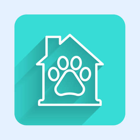 White line Pet house icon isolated with long shadow. Green square button. Vector Vettoriali