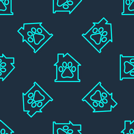 Green line Pet house icon isolated seamless pattern on blue background. Vector