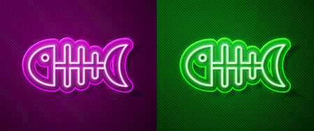 Glowing neon line Fish skeleton icon isolated on purple and green background. Fish bone sign. Vector