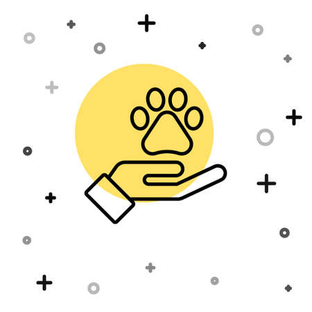 Black line Hands with animals footprint icon isolated on white background. Pet paw in heart. Love to the animals. Random dynamic shapes. Vector