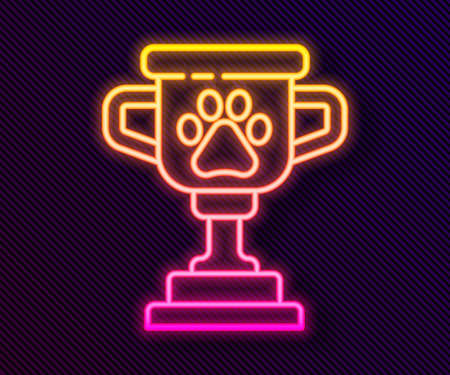 Glowing neon line Pet award symbol icon isolated on black background. Medal with dog footprint as pets exhibition winner concept. Vector