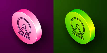 Isometric line Hamster wheel icon isolated on purple and green background. Wheel for rodents. Pet shop. Circle button. Vector