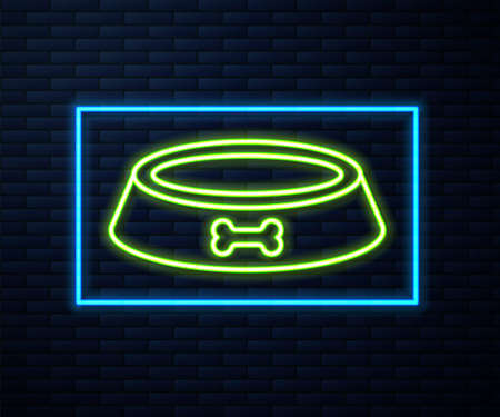Glowing neon line Pet food bowl for cat or dog icon isolated on brick wall background. Dog bone sign. Vector
