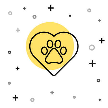 Black line Heart with animals footprint icon isolated on white background. Pet paw in heart. Love to the animals. Random dynamic shapes. Vector