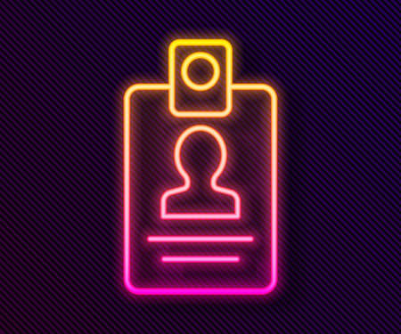 Glowing neon line Identification badge icon isolated on black background. It can be used for presentation, identity of the company, advertising. Vector Vettoriali