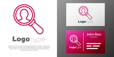 Logotype line Magnifying glass for search a people icon isolated on white background. Recruitment or selection concept. Search for employees and job.