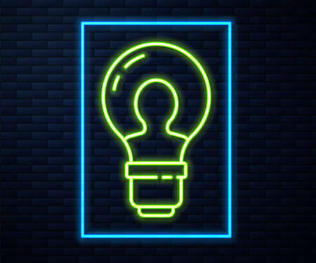 Glowing neon line Human head with lamp bulb icon isolated on brick wall background. Vector