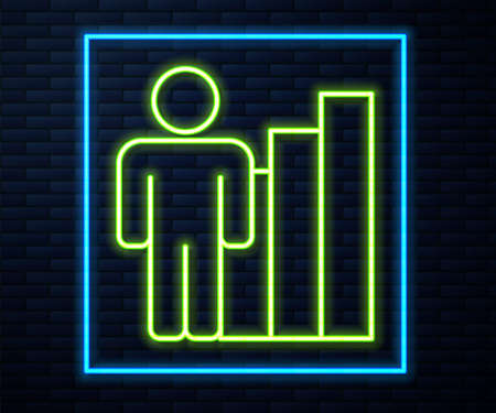 Glowing neon line Productive human icon isolated on brick wall background. Idea work, success, productivity, vision and efficiency concept. Vector