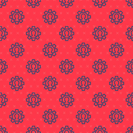 Blue line Human with gear icon isolated seamless pattern on red background. Artificial intelligence. Thinking brain sign. Symbol work of brain. Vector Vettoriali