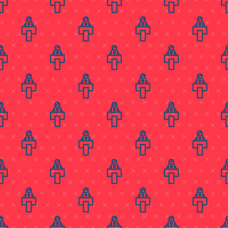 Blue line Stage stand or debate podium rostrum icon isolated seamless pattern on red background. Conference speech tribune. Vector