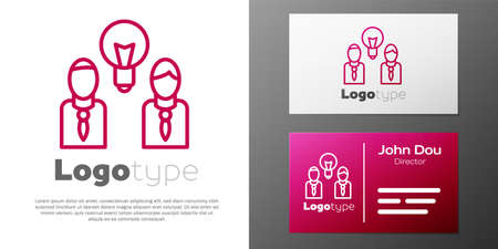 Logotype line People with lamp bulb icon isolated on white background. Concept of idea. Vettoriali
