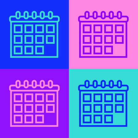 Pop art line Calendar icon isolated on color background. Event reminder symbol. Vector