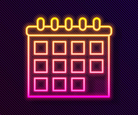 Glowing neon line Calendar icon isolated on black background. Event reminder symbol. Vector