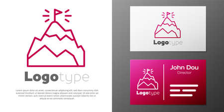 Logotype line Mountains with flag on top icon isolated on white background. Symbol of victory or success concept. Goal achievement.