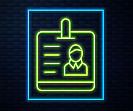 Glowing neon line Identification badge icon isolated on brick wall background. It can be used for presentation, identity of the company, advertising. Vector