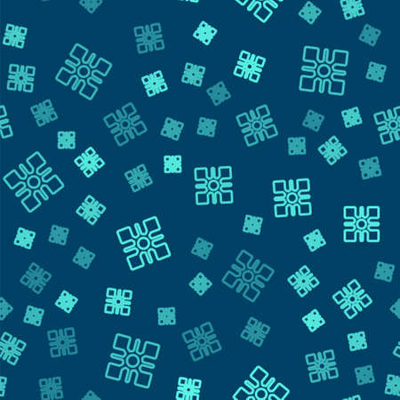 Green line Snowflake icon isolated seamless pattern on blue background. Vector