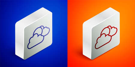 Isometric line Sun and cloud weather icon isolated on blue and orange background. Silver square button. Vector Vettoriali