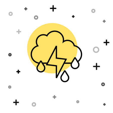Black line Cloud with rain and lightning icon isolated on white background. Rain cloud precipitation with rain drops.Weather icon of storm. Random dynamic shapes. Vector