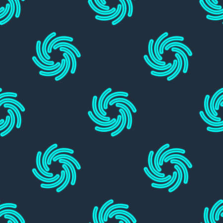 Green line Tornado icon isolated seamless pattern on blue background. Cyclone, whirlwind, storm funnel, hurricane wind or twister weather icon. Vector Vettoriali