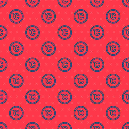 Blue line Celsius icon isolated seamless pattern on red background. Vector